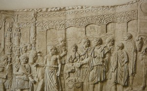 Relief depicting the bridge on the Danube