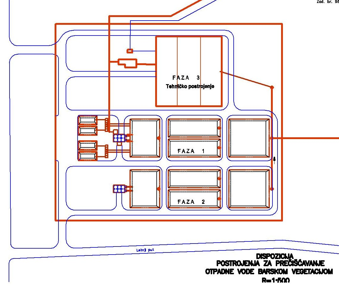 Dispozicija tehnickog precistaca nakon dve faze postrojenja sa trskom